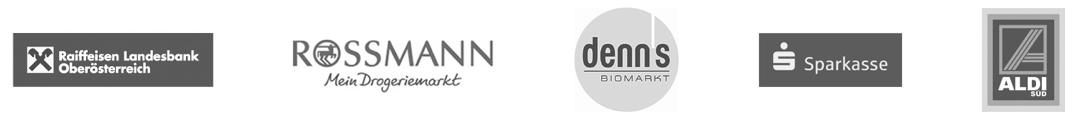 Logos der Partner der SWI-Gruppe: Raiffaisen Landesbank Oberösterreich, Rossmann, denns Biomarkt, Sparkasse, ALDI Süd