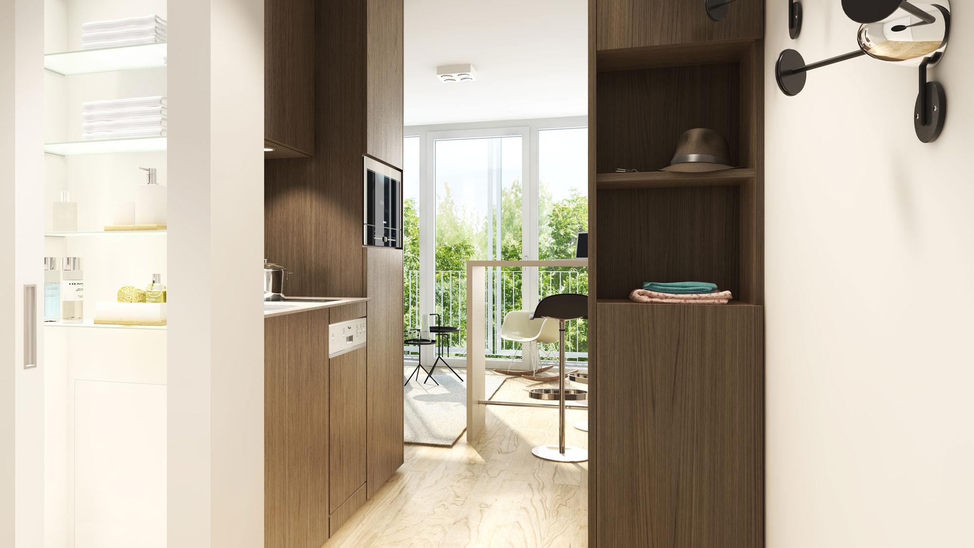 Blick in eines der studiomuc Mikroappartments in München mit Bad, Kochbereich und Wohnzimmer mit angrenzendem Balkon