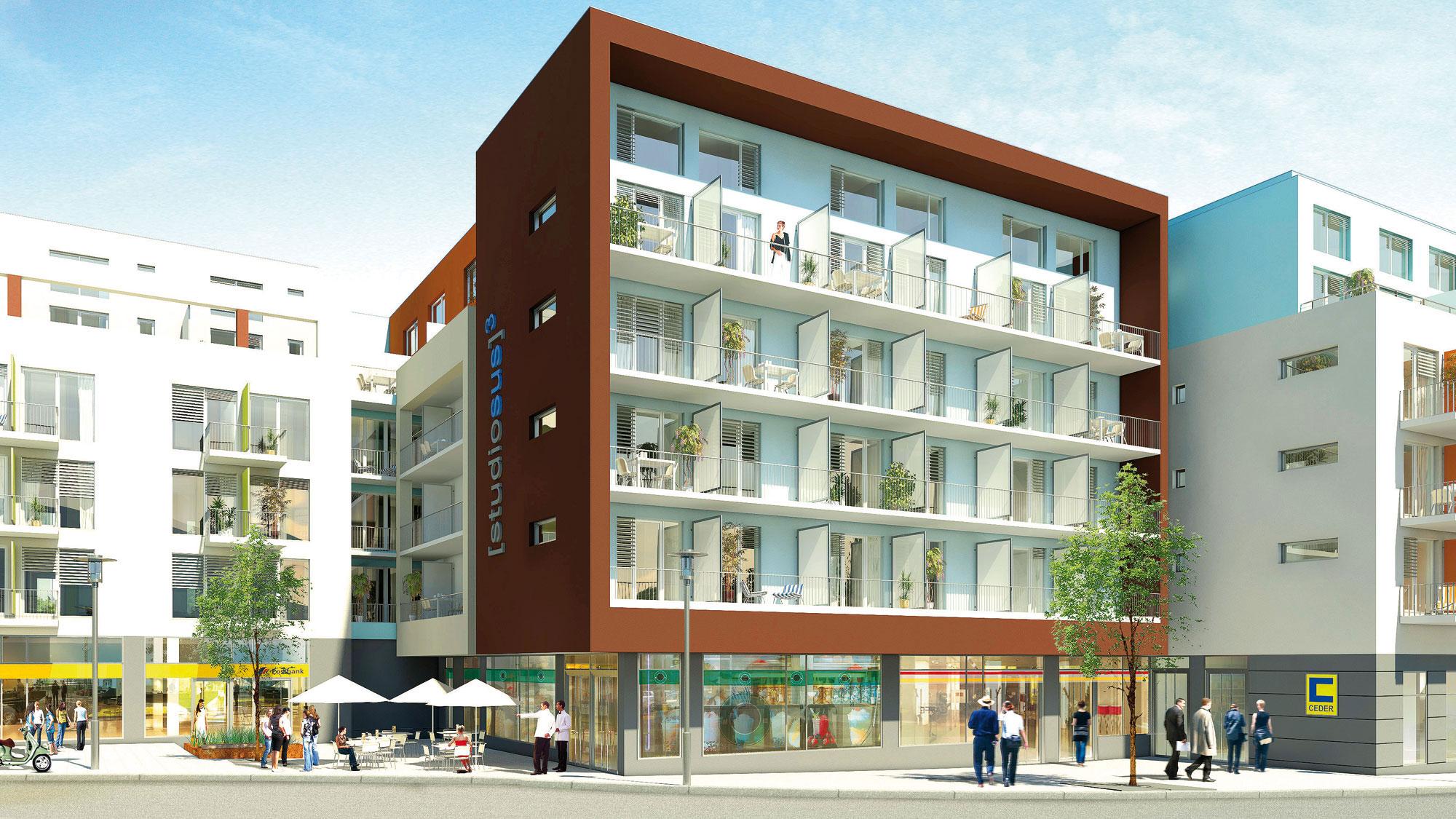 Neubauprojekt studiosus 3 - Außenansicht der Wohnanlage mit modernen Studentenwohnungen in München Moosach