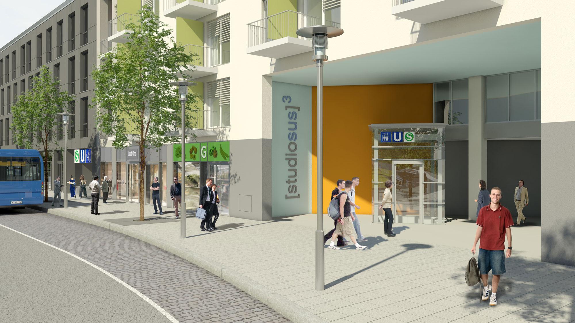 Eingang der Wohnimmobilie studiosus 3 mit modernen Studentenapartments in München Moosach