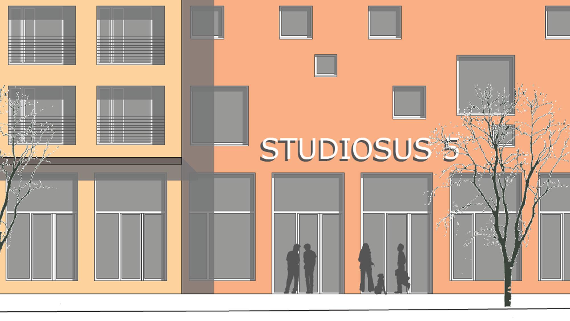 Skizze der Außenansicht Neubauprojekt Studiosus 5 in Augsburg mit modernen Studentenwohnungen