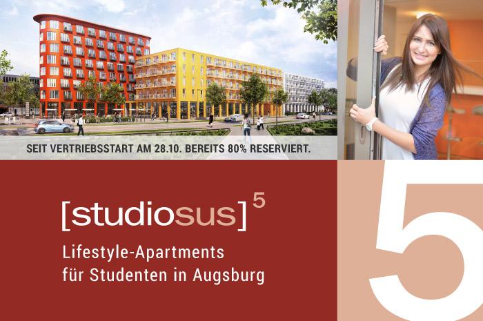 Projektstart studiosus 5 Studentenwohnungen und -apartments in Augsburg