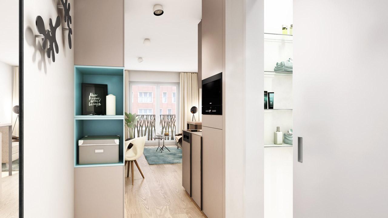 Außenansicht des Neubauprojekts studiomuc - in München Schwabing - einem der aktuell realisierten Immobilienkonzepte der Schimpel & Winter Immobilien-Gruppe - mit hochmodernen Mikroapartments